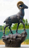 Ram On Rock Bronze Sculpture