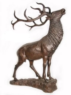 Elk Standing On A Rock Monumental Life-Size Bronze