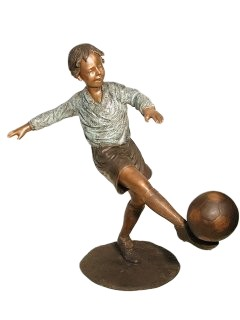Boy Playing Soccer Bronze Garden Sculpture