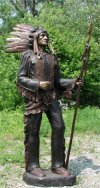 Chief With Spear Sculpture Bronze Native American