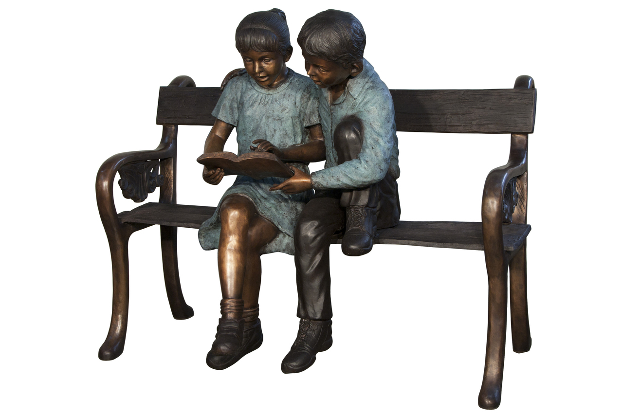 Boy & Girl Reading On Bench Bronze Sculpture