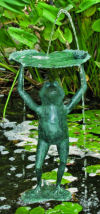 Frog Lifting Lily Pad Piped Water Feature Fountain Sculpture