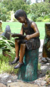 Emily Reading Girl On Log Bronze Sculpture