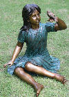 Robin Girl With Bird Bronze Sculpture