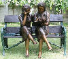 Girls On Park Bench Reading Bronze Sculpture