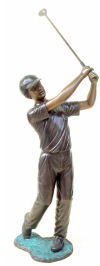 Male Golfer Bronze Garden Sculpture