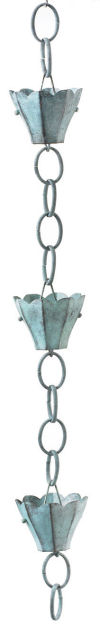 Tulip Rain Chain -3 Cups Downspout