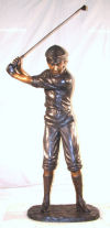 Golfer In Swing Bronze Life-Size Sculpture