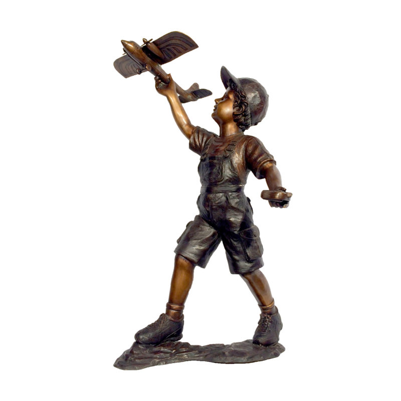 Boy With Airplane Bronze