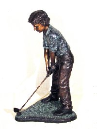 Little Golfer Boy Sculpture Bronze