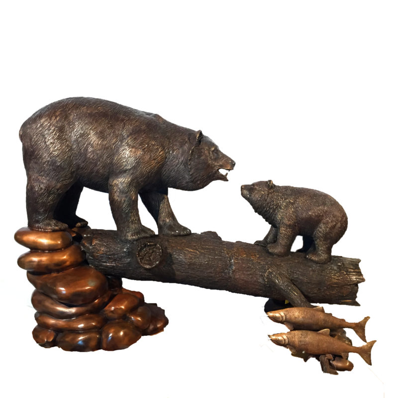 Bronze Bear Sculpture On Log With Cub